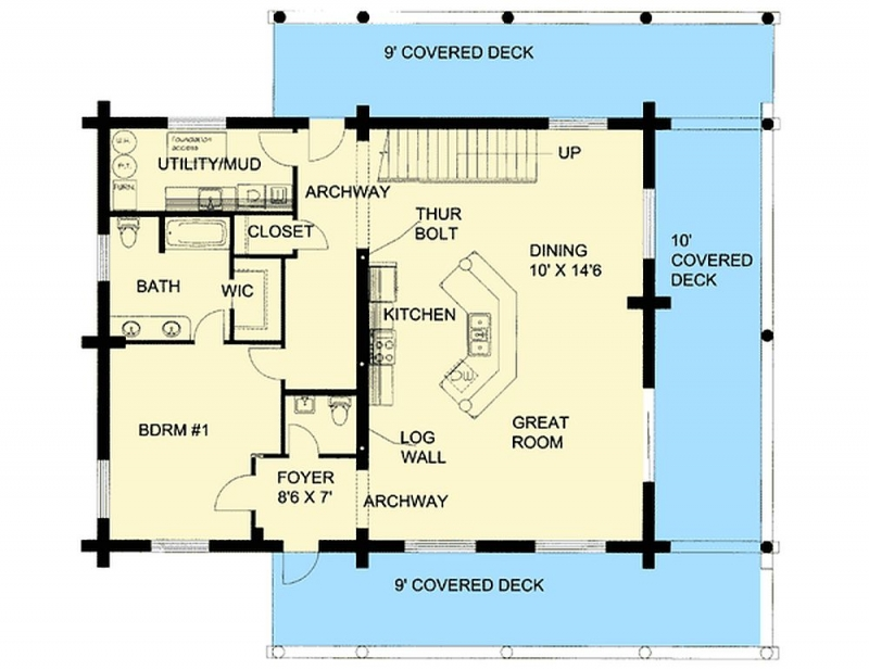 Plan Lsg35412gh 1 Bedroom 1 5 Bath Log Home Plan