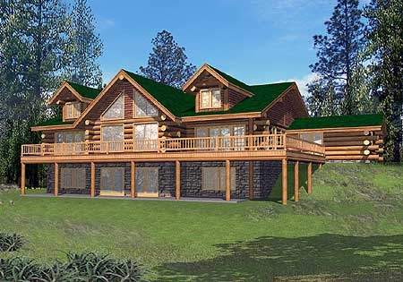 Plan w35203gh 4 bedroom 5 bath log home plan for 5 bedroom log home plans