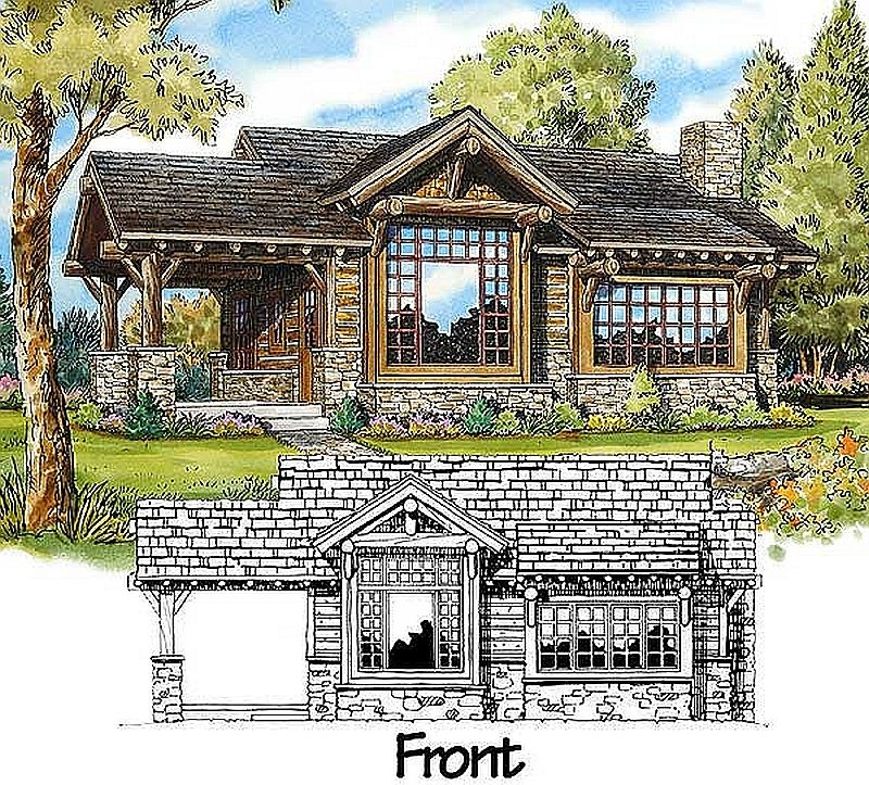 Two Bedroom Cabin Plans: Plan W11529KN 2 Bedroom 2 Bath Log Cabin Plan