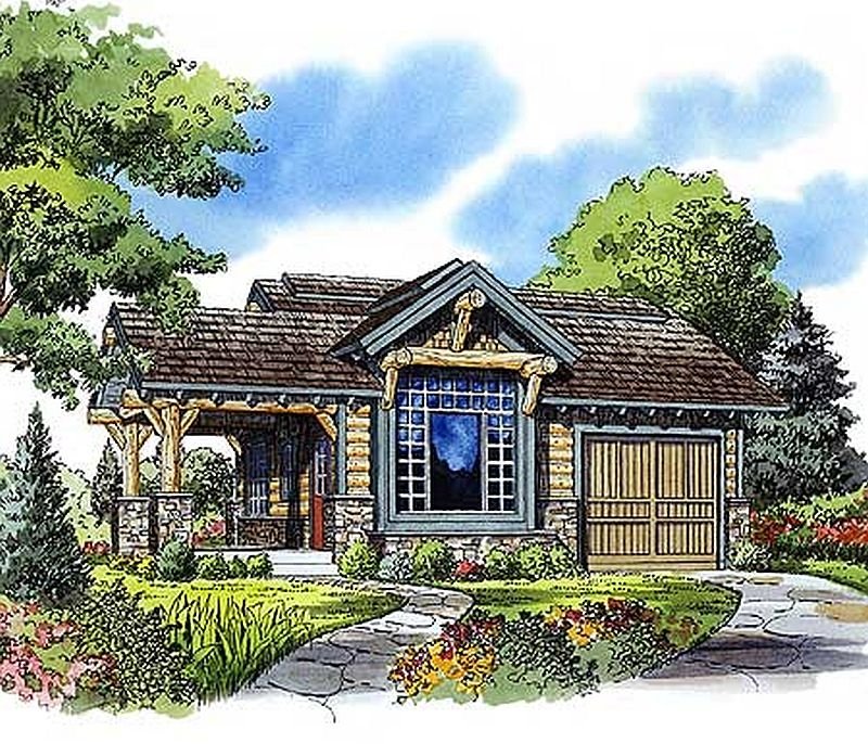 Plan W11534kn 1 Bedroom 1 Bath Log Cabin Plan