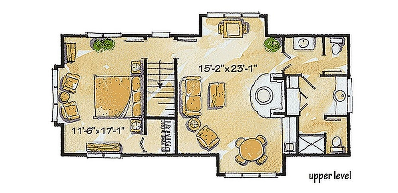Plan w11538kn 1 bedroom 1 bath log cabin plan for One bedroom log cabin plans