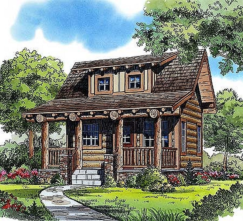 Plan w11546kn 1 bedroom 1 bath log cabin plan for One room log house