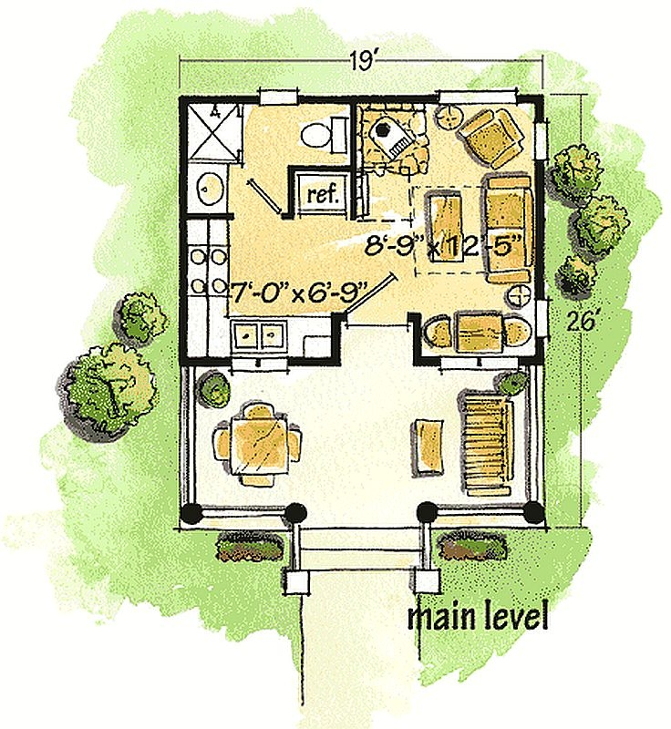 Plan W11546kn 1 Bedroom 1 Bath Log Cabin Plan