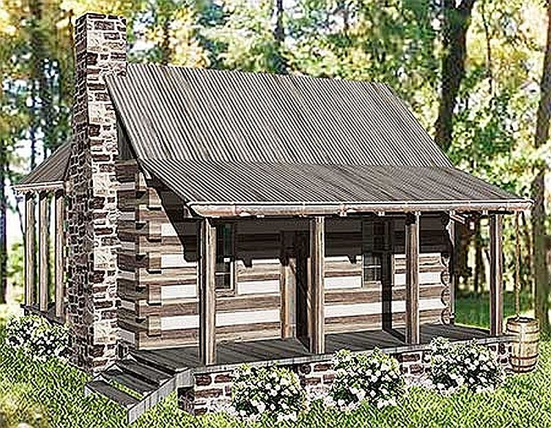 Plan w13328ww 1 bedroom 1 bath log cabin plan for One room log house