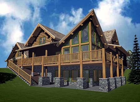 Plan w1520du 5 bedroom 4 bath log home plan for 5 bedroom log home plans