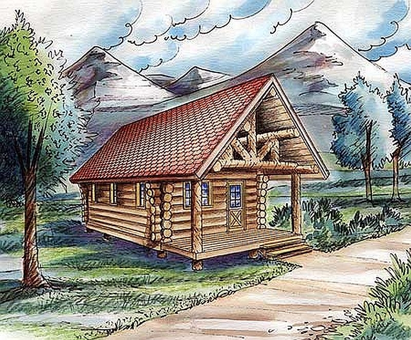 Plan w35115gh 1 bedroom 0 bath log cabin plan for One bedroom log cabin plans