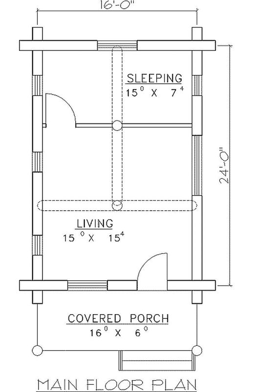 Plan W35115gh 1 Bedroom 0 Bath Log Cabin Plan