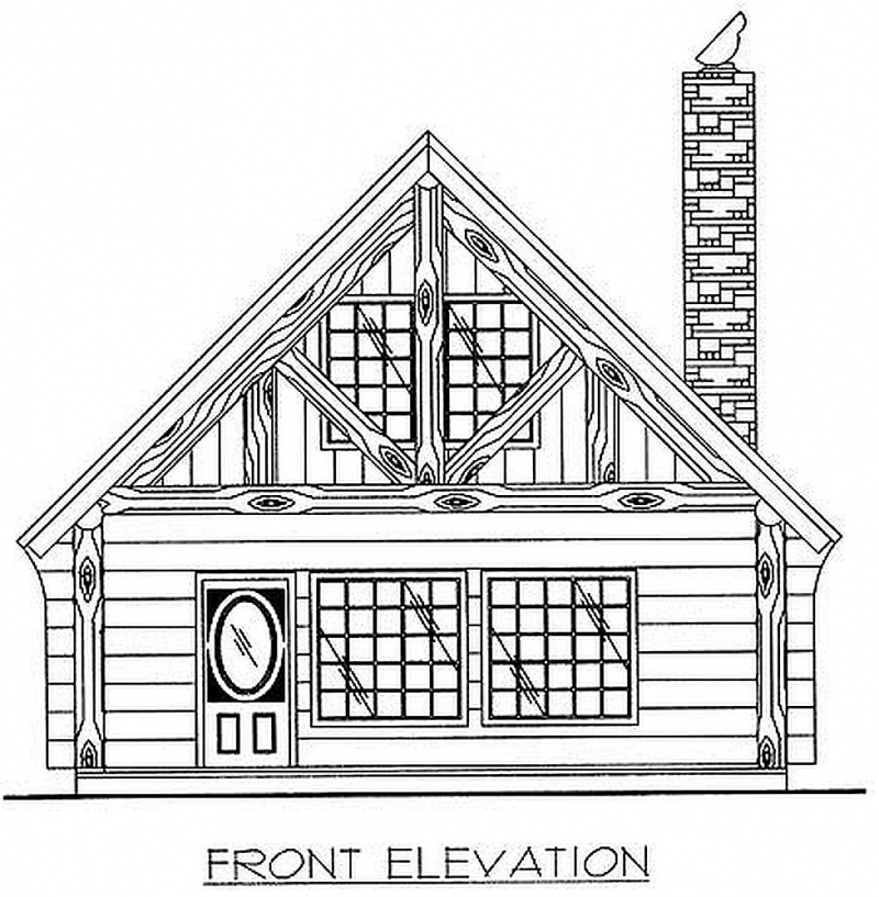 Front Elevation Of Bathtub : Plan w gh bedroom bath log home