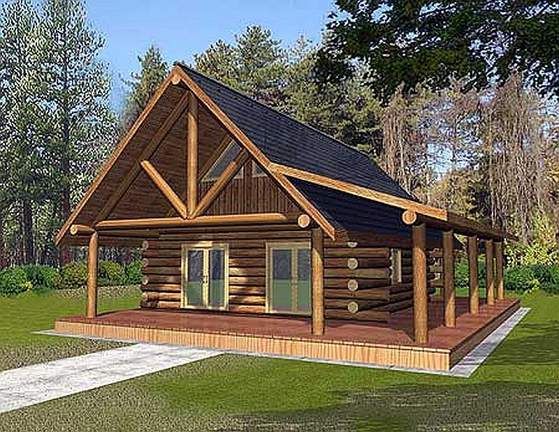 Plan w35212gh 1 bedroom 1 bath log cabin plan for One room log cabin designs