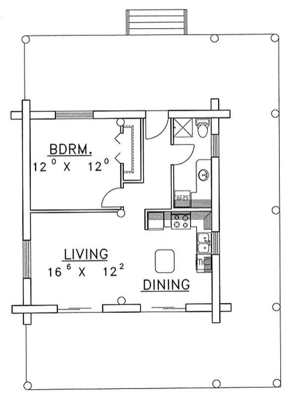 plan w35212gh 1 bedroom 1 bath log cabin plan 13911 | img plan w35212gh 1 bedroom 1 bath 1426097202 2