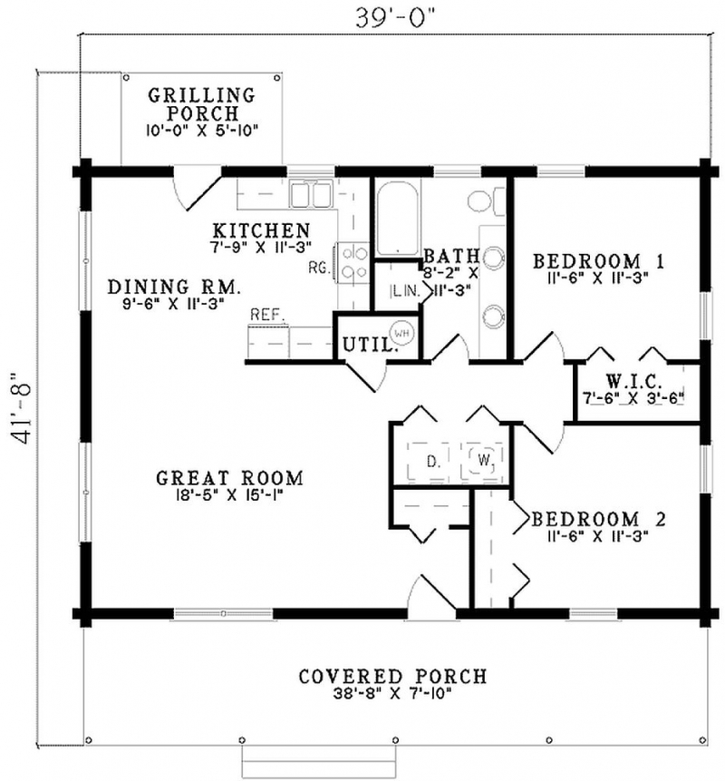 Plan W59011ND 2 Bedroom 1 Bath Log Home Plan