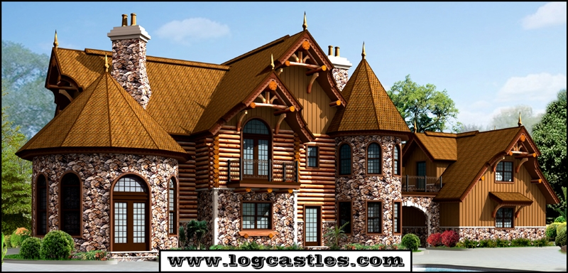 The victoria ii log home plan for Log and stone home plans