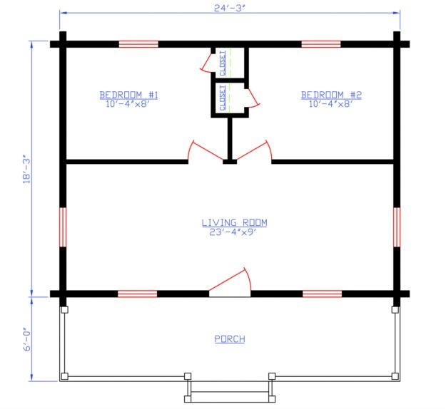Plan 154 00002 2 bedroom 0 bath log cabin plan for 2 bedroom log cabin plans