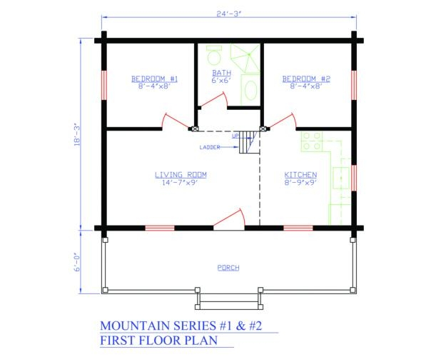 Plan 154 00001 2 bedroom 1 bath log cabin plan for 2 bedroom log cabin floor plans