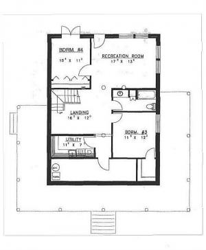 Plan 039 00010 4 bedroom 2 bath log home plan for 4 bedroom log home plans