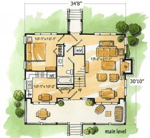 Planw11526kn 2 Bedroom 2 Bath Log Home Plan
